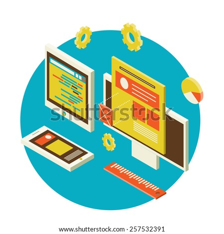 Isometric design of mobile and desktop website design development process, vector illustration - stock vector