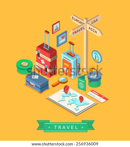 Isometric design style modern vector illustration icons set of traveling on airplane, planning a summer vacation, tourism and journey objects and passenger luggage. Isolated on stylish background. - stock vector