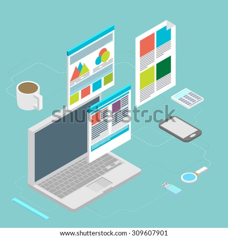 Isometric design vector illustration concept icons set of modern programmer workflow for web coding and html programming user interface elements.  - stock vector