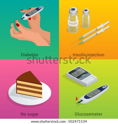 Isometric Diabetes Healthcare Life Flat Concepts