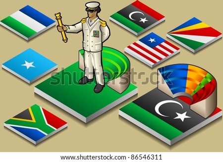 Isometric Dictatorship or Democracy on Tiles flag. Icon. Dictatorship Democracy JPG. JPEG. Picture. Image. Graphic. Art. Illustration. Drawing. Object. Dictatorship Democracy Vector. EPS. AI. - stock vector