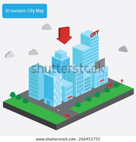 Isometric downtown, set of elements for infographic