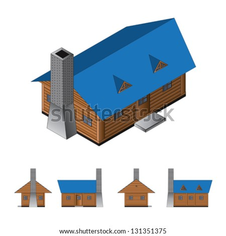 Isometric drawing of a log cabin. Vector illustration. - stock vector