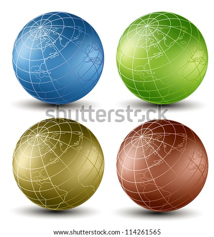 Isometric earth globes set different colors on a white background