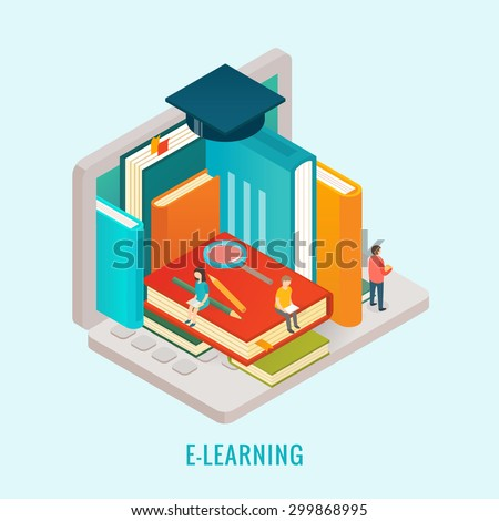 Isometric Education e-learning concept - stock vector