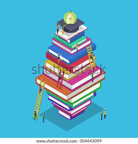 Isometric education graduation back to school 3d concept. People scrambling to books. Students rise to knowledge, vector illustration - stock vector