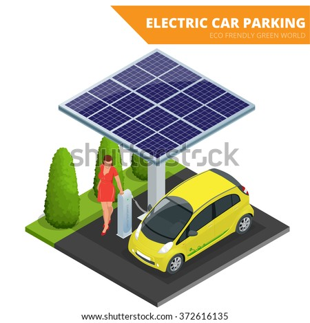 Isometric Electric car parking. Ecological concept. Eco frendly green world. Flat 3d vector isometric illustration.