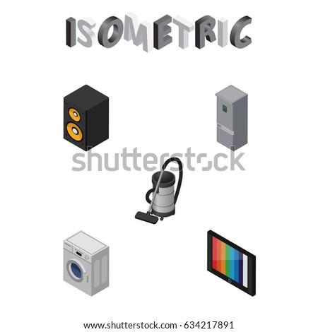 isometric electronics set vac television kitchen stock vector