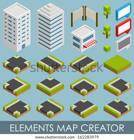 Isometric elements map creator - stock vector