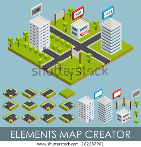 Isometric elements map creator. City - stock vector