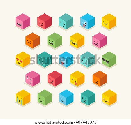 Isometric emoticons cube, square colorful icons - stock vector
