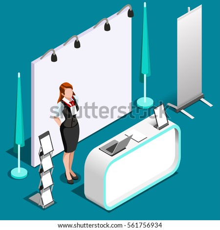Isometric Exhibition Trade Show Booth Stand Stock Vector