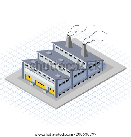 Isometric Factory Building Vector Illustration - stock vector