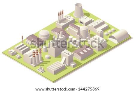 Isometric factory buildings - stock vector