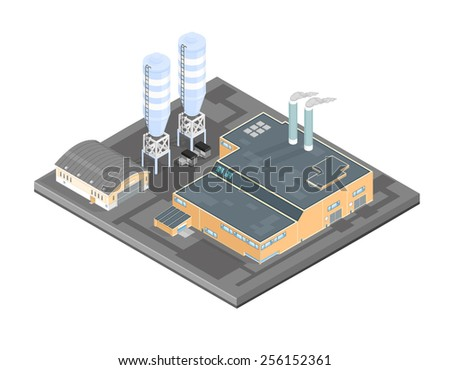 Isometric Factory Manufacturer with storage tanks and warehouse. Isometric Factory Manufacturer. Manufacturing processing plant complex. - stock vector