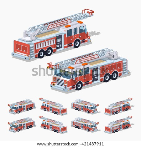 Isometric fire truck. Vector isometric fire truck. Isometric 3d fire truck. Isometric low poly fire truck. Isometric cartoon fire truck. Isometric fire truck set. Isometric fire truck collection. - stock vector