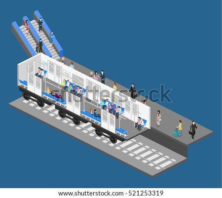 Isometric flat 3d concept interior metro stock illustration 539243950 shutterstock - Carrage metro ...