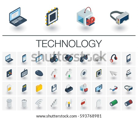 Isometric flat icon set. 3d vector colorful illustration with technology, digital symbols. Cloud computing, print, VR glasses, 4k resolution and wireless colorful pictogram Isolated on white