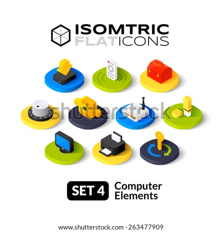 Isometric flat icons, 3D pictogram vector set 4 - computer symbol collection  - stock vector