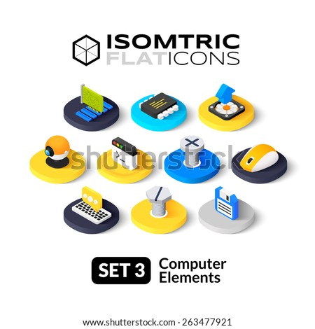 Isometric flat icons, 3D pictogram vector set 3 - computer symbol collection  - stock vector
