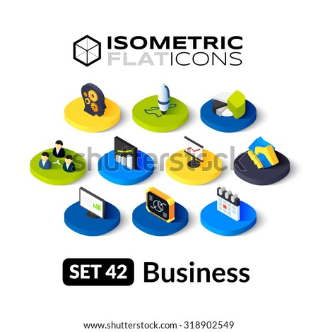 Isometric flat icons, 3D pictograms vector set 42 - Business symbol collection - stock vector