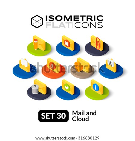 Isometric flat icons, 3D pictograms vector set 30 - Mail and cloud symbol collection - stock vector