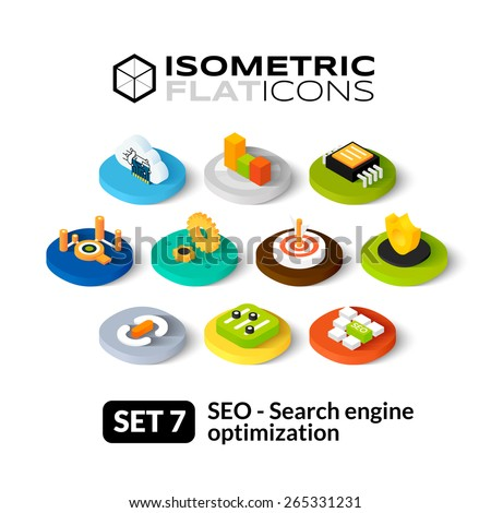 Isometric flat icons, 3D pictograms vector set 7 - Search engine optimization symbol collection - stock vector