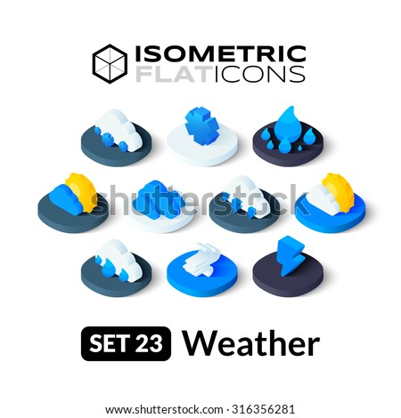 Isometric flat icons, 3D pictograms vector set 23 - Weather symbol collection - stock vector