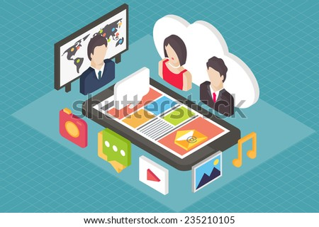Isometric flat vector concept, mobile phone and user avatars, social media, 3d icons. - stock vector