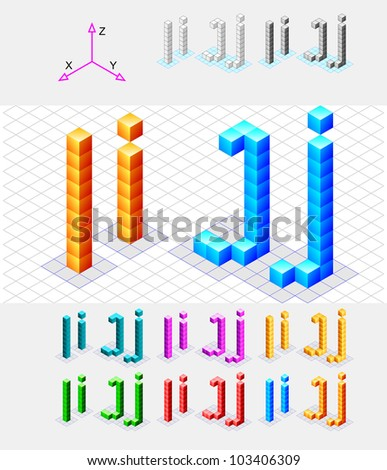Isometric font from the cubes.Letters I and J. Vector - stock vector