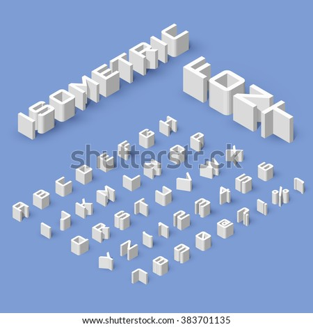 Isometric Font Set Isolated on Blue Background - stock vector