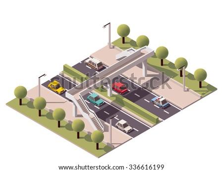 Isometric footbridge over the highway - stock vector