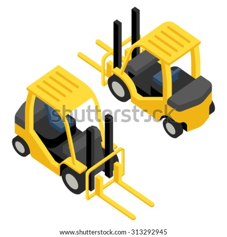 isometric forklift flat icons - stock vector