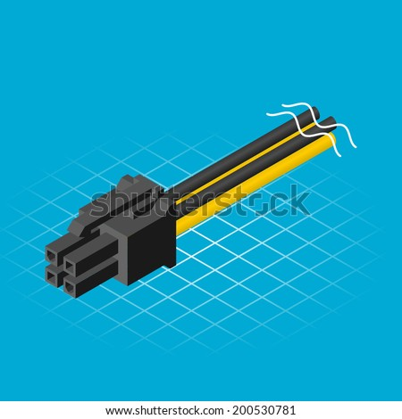 Isometric Four Pin Connector Vector Illustration - stock vector
