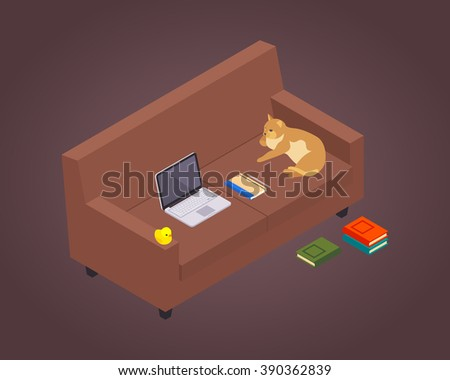 Isometric freelancer workplace against the maroon background. 3D isometric vector concept illustration - stock vector