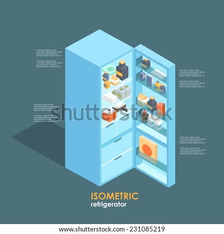 isometric fridge.flat illustration - stock vector