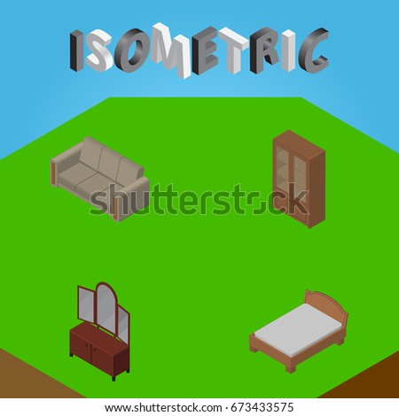 Isometric Furnishing Set Of Drawer, Bedstead, Couch And Other Vector Objects. Also Includes Furniture, Sideboard, Cupboard Elements.
