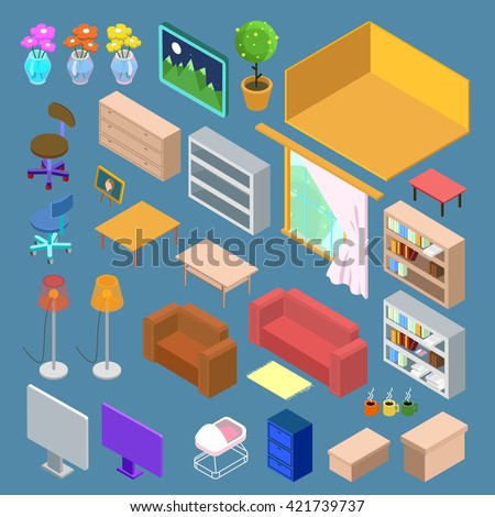 Isometric Furniture. Isometric Living Room Planning. Isometric Interior  Objects. Household Objects. Vector