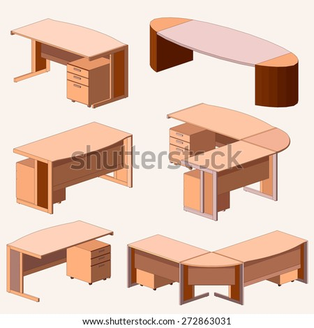 Isometric Furniture. table set - stock vector