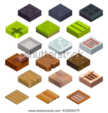 Isometric game brick cubes set for computer games. Cube for game, element texture, nature brick for computer game, illustration vector