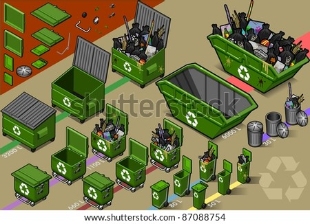 Isometric Garbage Container in Various Format Sizes - stock vector