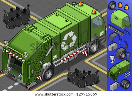 Isometric Garbage Truck Garbage Man Waste Bag Recycle Bin. Icon. Garbage Truck JPG. Garbage Truck JPEG. Picture. Image. Graphic. Art. Illustration. Object. Garbage Truck Vector. Garbage Truck EPS. AI. - stock vector