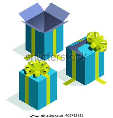 Isometric gift boxes. Vector image