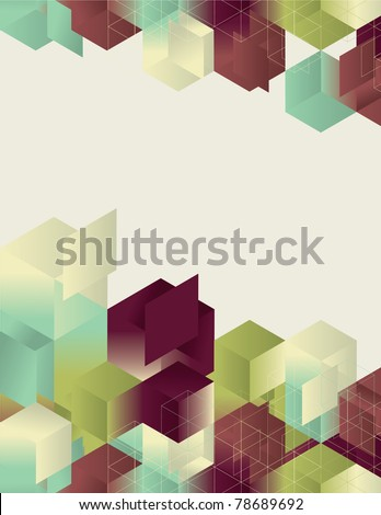 Isometric Gradient Cube Page Design - stock vector