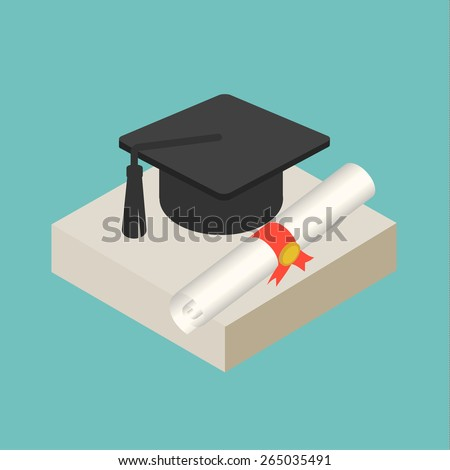 Isometric graduation cap and diploma web icon, vector illustration