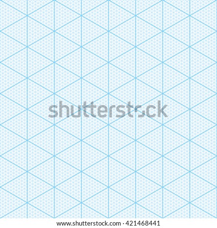 Isometric graph paper for 3D design. Seamless vector pattern. - stock vector