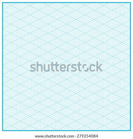 Isometric Graph Paper Layout. Vector Illustration