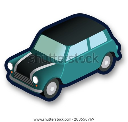 Isometric green car - stock vector