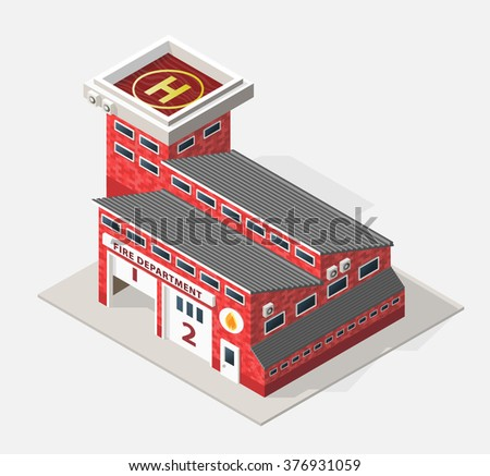 Isometric High Quality City Element with 45 Degrees Shadows on White Background. Fire Department.