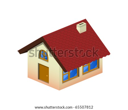 Isometric home icon with tiling - stock vector